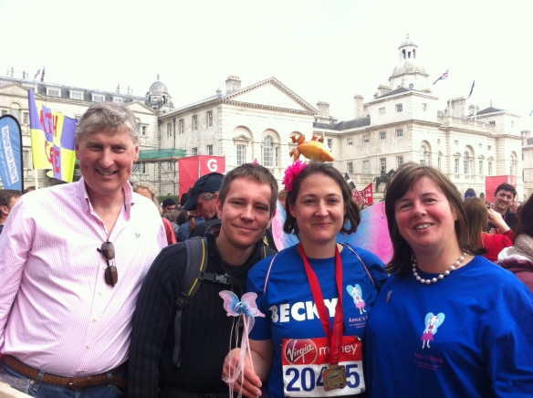 Rob and Carole Hughes with Virgin London Marathon Runner Becky Eames and husband Tom
