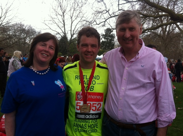 Carole and Rob Hughes with Rutland Radio presenter Rob Persani at the Virgin London Marathon